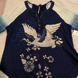Free people blue top, Size Small.